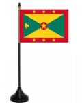 Grenada Desk / Table Flag with plastic stand and base.